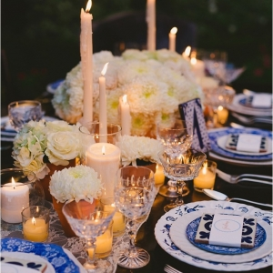 Romantic Spanish-Inspired Tablescape with Taper Candles and Votive Candles
