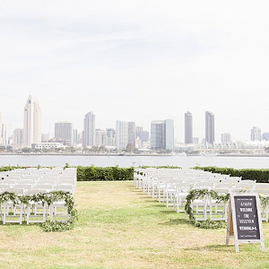 Waterside San Diego skyline wedding ceremony