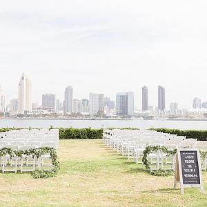 Waterside San Diego skyline wedding ceremony