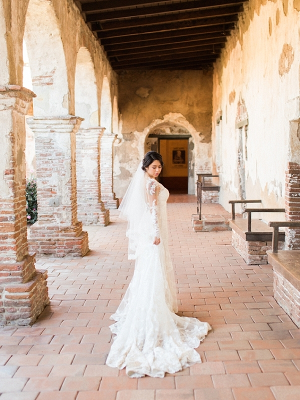 Bride in a Martina Liana Lace Dress