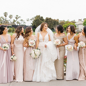 Mismatched blush bridal party
