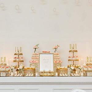 Elegant pink and gold dessert table
