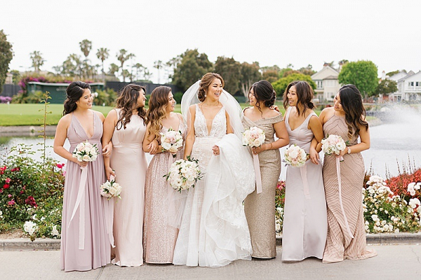 Mismatched blush bridal party