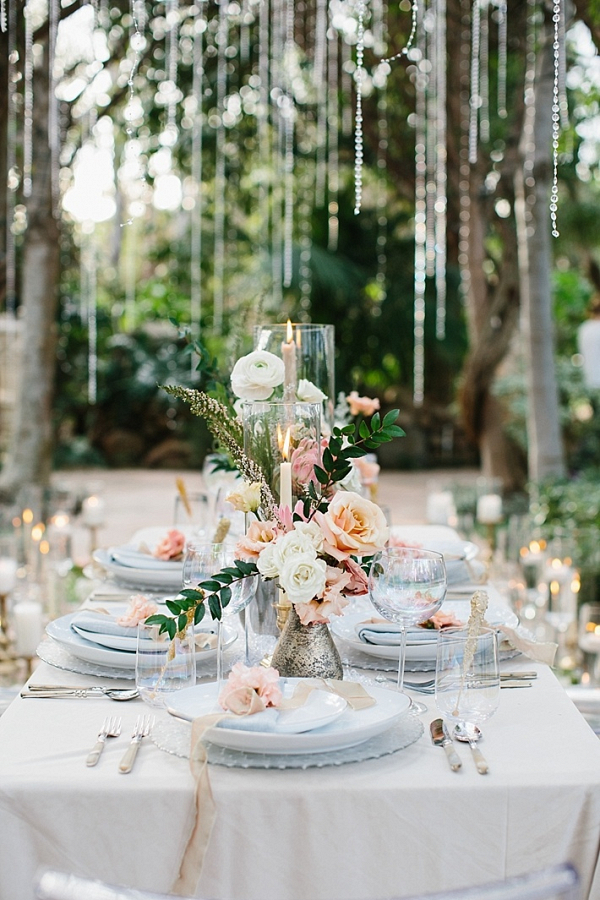 Romantic peach centerpiece