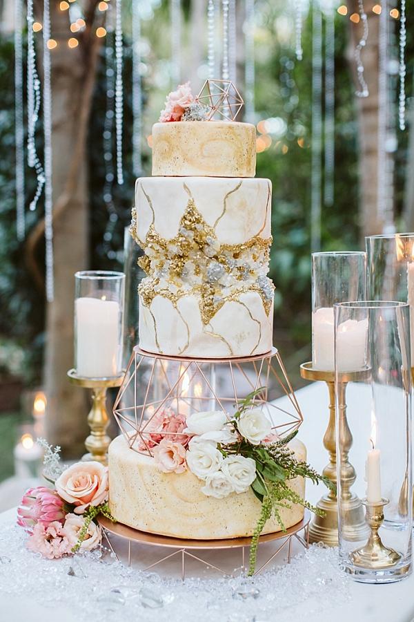 Glam geode wedding cake