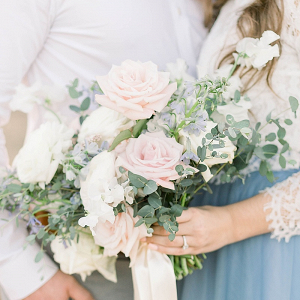 Cream, blush, and light blue bouquet
