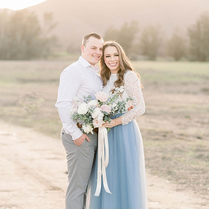 Sunset engagement session in long tulle skirt