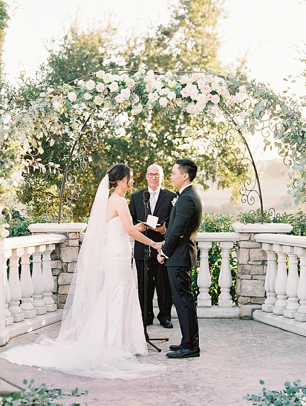Romantic floral ceremony arch