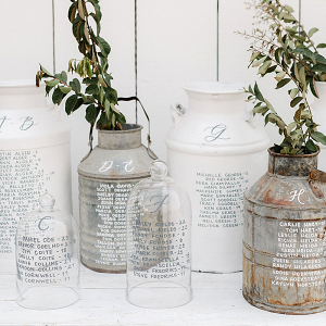 Milk jar calligraphy seating display