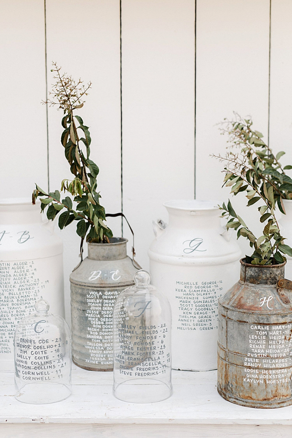 Milk jar calligraphy seating display