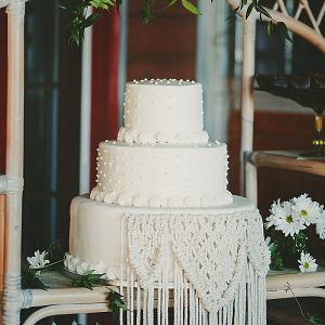 b12e805b61 Woodstock themed wedding program fan  Boho macrame wedding cake ...