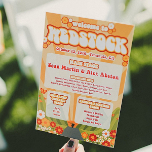 Woodstock themed wedding program fan