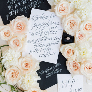 Black and white wedding inspo modern calligraphy invites envelopes