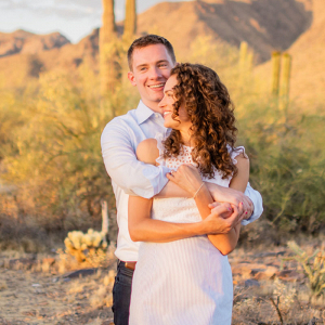 Scottsdale desert destination engagement sunset