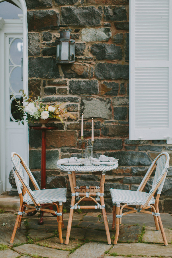 Bride and groom elopement brunch tablescape