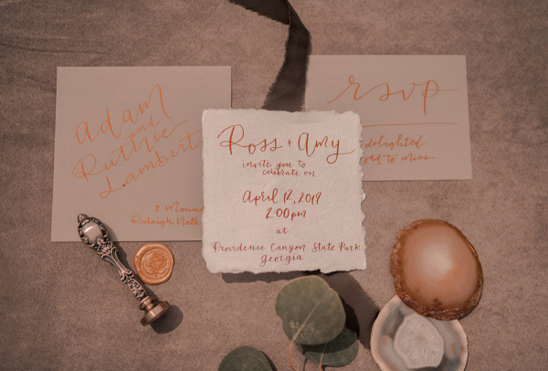 Wedding invitation with wax seals