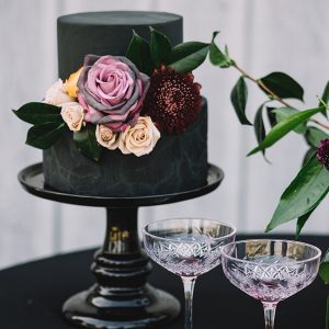 2 tier black wedding cake