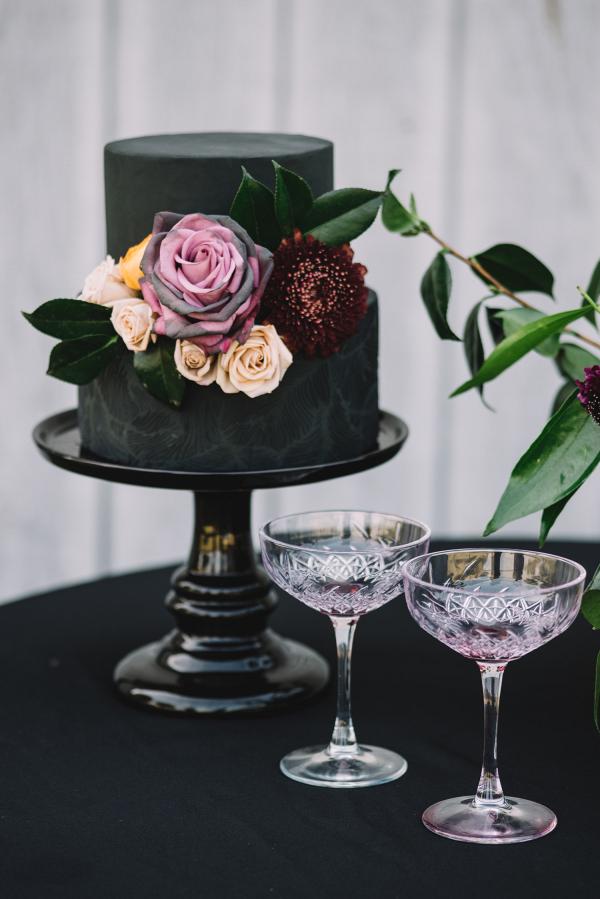 2 tier black wedding cake