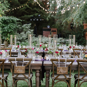 Exquisite tablescape with hanging lights