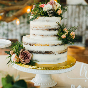 Two tiered white wedding cake