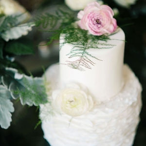 Ruffled Wedding Cake With a Vintage Rustic Touch Accented By Real Flowers Ali McLaughlin Photography