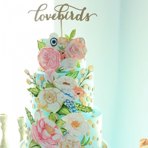 Three Tier Paper Cut Out Spring Wedding Cake