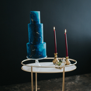 Deep blue 3 tier wedding cake