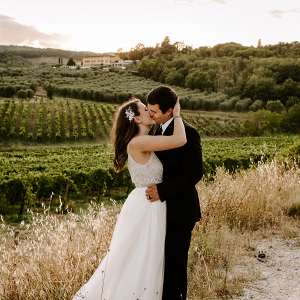 Tuscan vineyard destination elopement