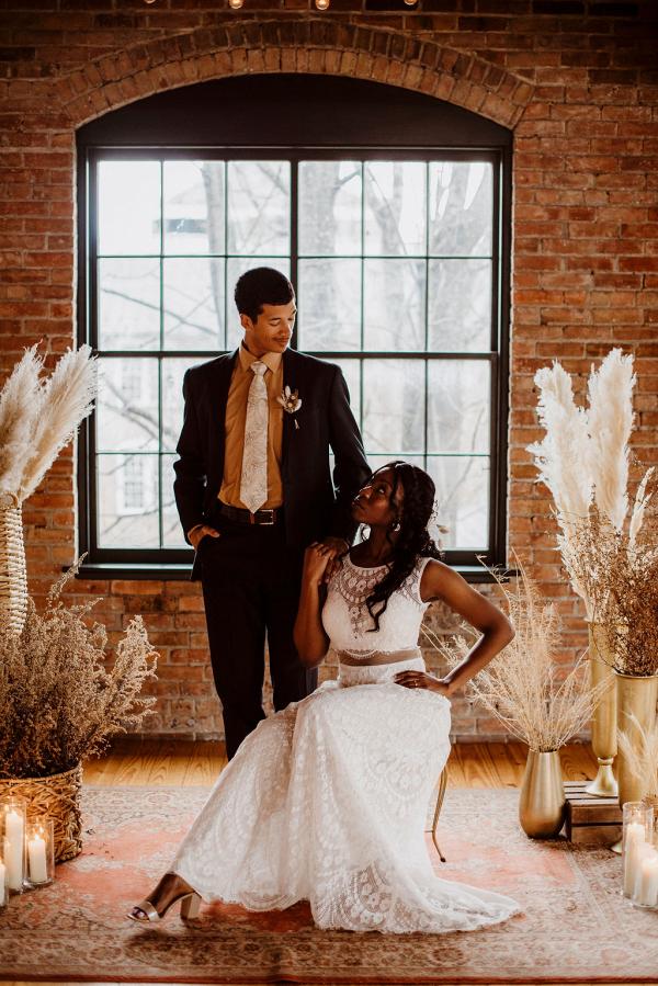 Edgy boho wedding inspiration with earthy tones