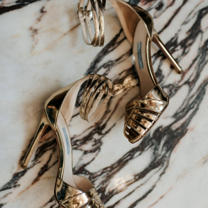 Golden elegant bridal shoes