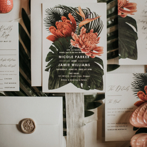 Wedding invitations with wax seal envelopes