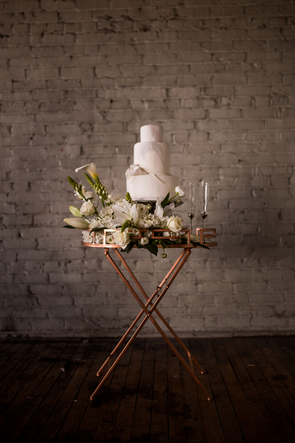 Industrial Wedding Wedding Cake Display Captured By Hannah Photography