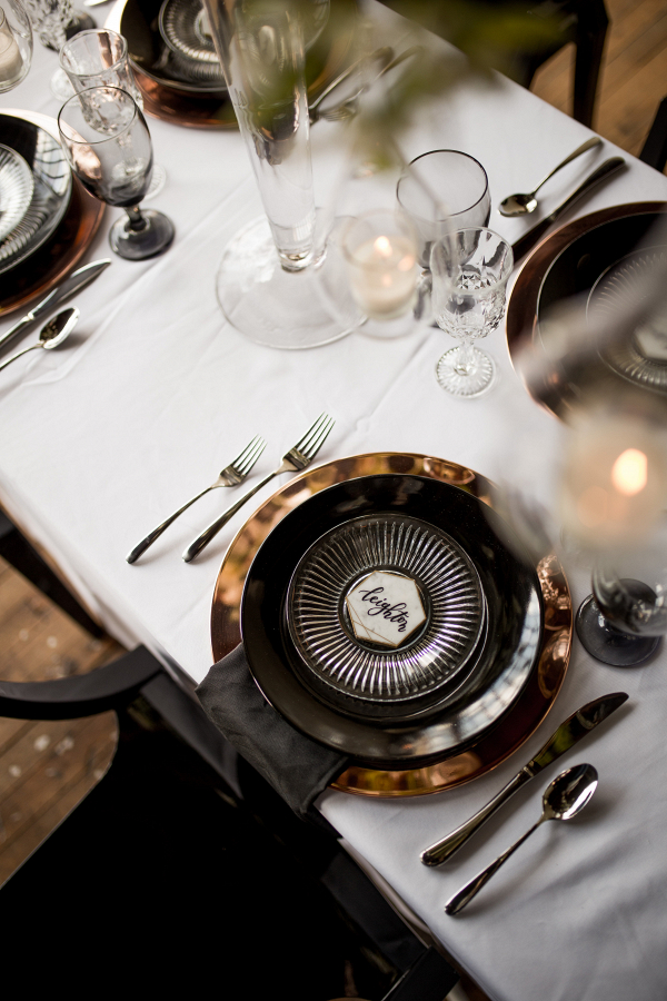 Industrial Wedding Placesetting Captured By Hannah Photography