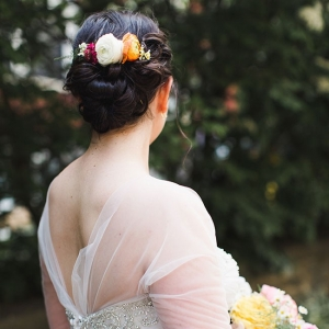 Gorgeous Wedding Hair Updo With Flower Accents Cambridge Harvard Wedding Ashley Caroline Photography