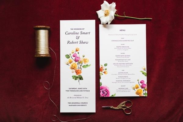 Spring Garden Wedding Invitation Suite Cambridge Harvard Wedding Ashley Caroline Photography