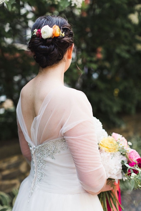 Gorgeous Wedding Hair Updo With Flower Accents Cambridge Harvard Wedding Ashley Caroline Photography