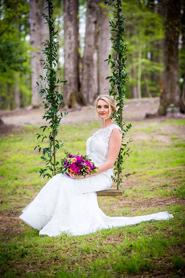 Jewel Tone Equestrian Wedding Swing Table Red Bridge Photography