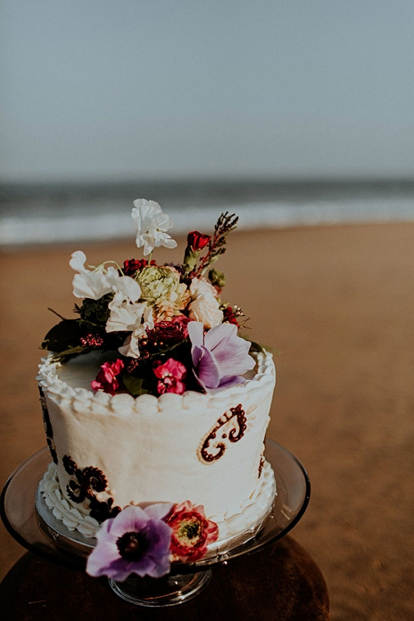 Jewel Tone Beach Wedding Cake The Hursts & Co