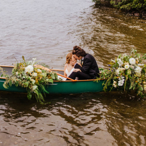 Kiss in a canoe