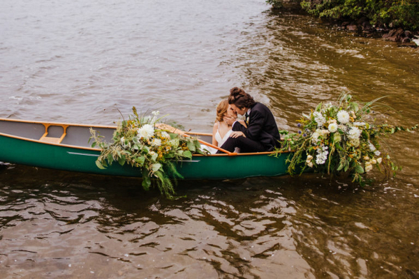 Kiss in a canoe