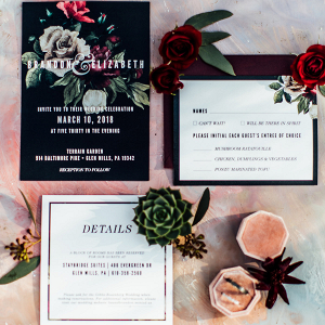 Wedding invitations with succulent