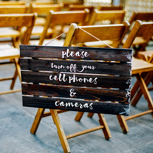 Sign on wooden chair