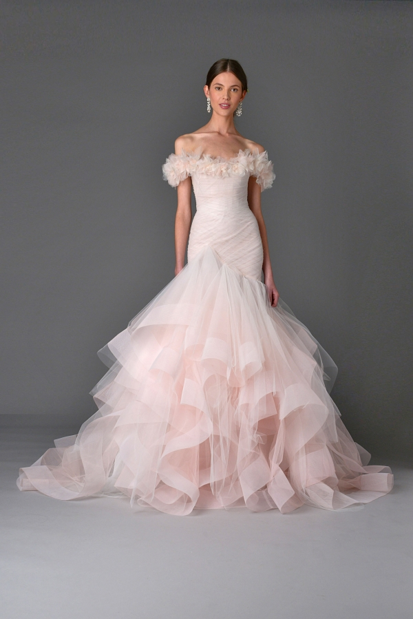 Soft Blush Marchesa Wedding Dress from the Spring Summer 2017 Collection