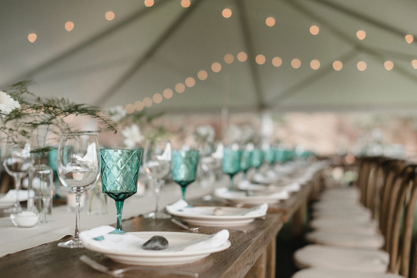 Tablescape with a shade of blue
