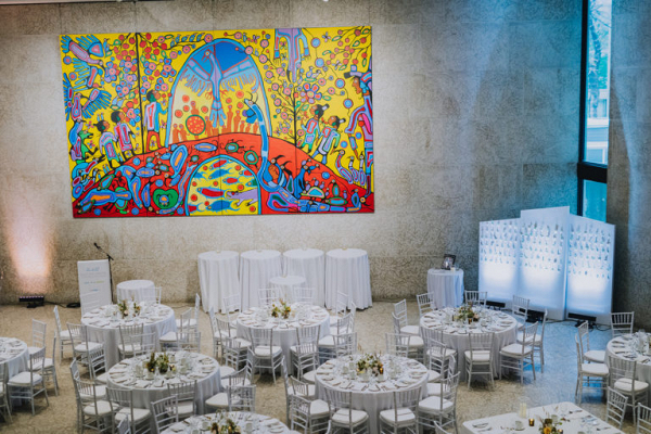 Reception setting with a wall painting