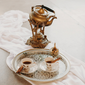 Copper kettle and teacups