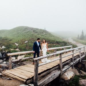 Posing on a wooden bridge