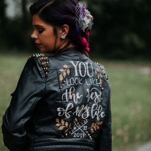 Bridal black leather jacket
