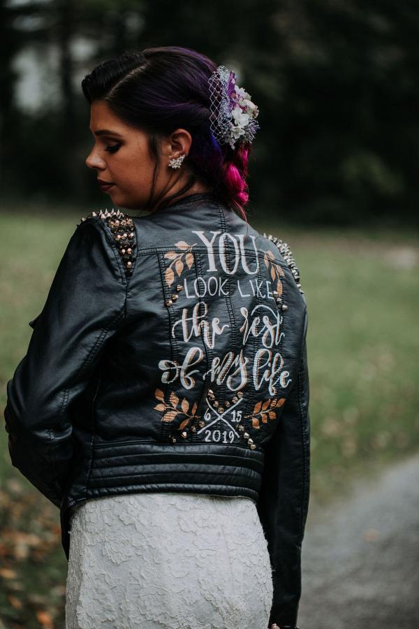 Bridal black leather jacket