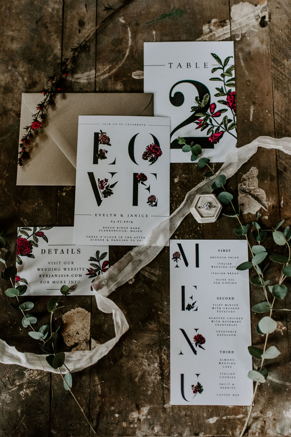 Wedding invitations with roses